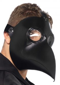 Mens Gothic Deluxe Black Plague Doctor Mask