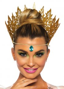 Womens Gold Glitter Crown Headpiece with Jewel