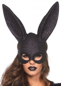 Womens Black Glitter Bunny Rabbit Mask with Ears
