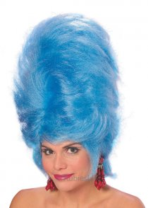 Womens Tall Blue Beehive Wig