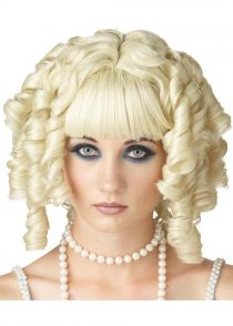 Ladies Gothic Blonde Curly Ghost Doll Wig