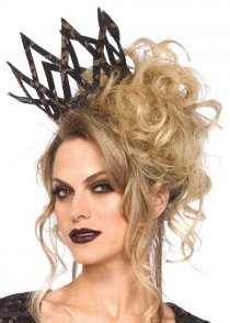 Womens Gothic Black and Gold Lace Imperial Crown