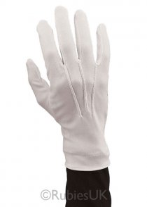 Adult Mens Deluxe White Seamed Gloves