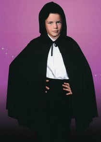 Childs Size Halloween Black Hooded Cape