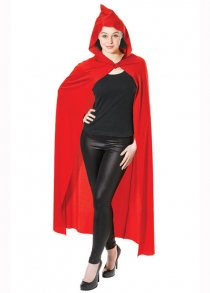 Adult Size Bright Red Long Hooded Fabric Cape