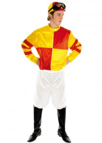 Adult Mens Red and Yellow Jockey Costume