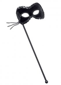 Black Velvet Masked Ball Eyemask on Stick