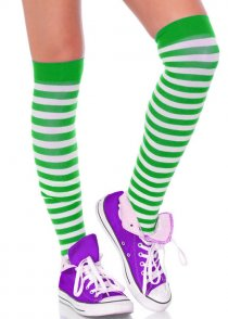 Womens Green and White Striped Stockings