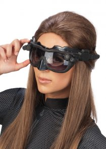 Black Catwoman Mask Headpiece with Goggles