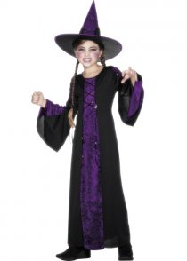 Childs Purple Halloween Witch Bewitched Costume