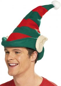 Christmas Striped Elf Hat with Ears