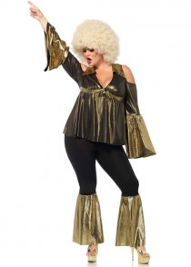Plus Size 1970s Gold Disco Diva Costume