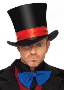 Mens Mad Hatter Black Velvet Top Hat