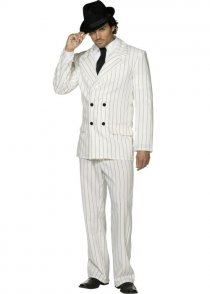 Adult Mens 20's White Gangster Suit Costume