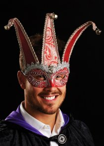 Mens Red and Silver Jester Masquerade Eyemask