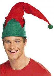 Christmas Elf Hat with Pom Poms