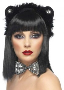 Black and Silver Sequin Cat Fancy Dress Set