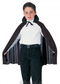 Childs Size Halloween Black Fabric Cape