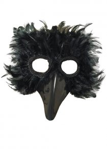 Black Feather Bird Eyemask with Beak