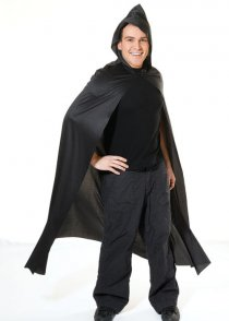 Adult Size Black Long Hooded Fabric Cape