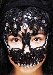 Black Lace Sugar Skull Diamante Mask