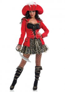 Adult Ladies Red Glitzy Pirate Girl Costume