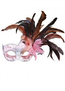 Womens Deluxe Pink Colombina Feather Eyemask
