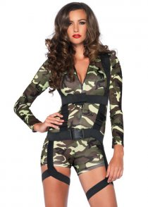Womens Goin Commando Short Army Costume