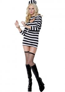 Ladies Sexy Prisoner Fever Convict Costume