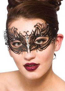 Black Metal Filigree Diamante Butterfly Eyemask
