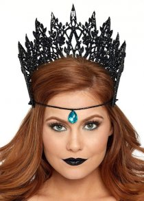 Gothic Black Glitter Crown Headpiece with Jewel