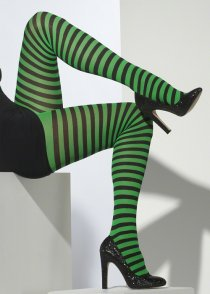 Adult Ladies Black and Green Striped Tights