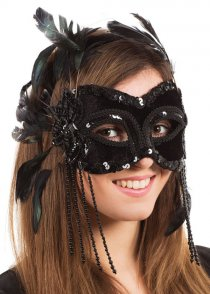 Black Velvet Feather Masked Ball Eyemask