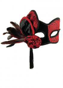 Gothic Red and Black Masked Ball Eyemask