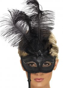 Baroque Fantasy Black Feather Eyemask on Stick