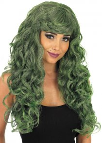 Ladies Halloween Long Green Curly Wig
