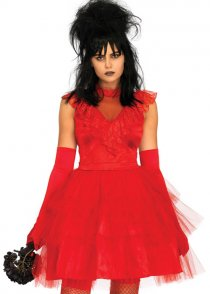 Womens Beetlejuice Lydia Style Red Bride Costume