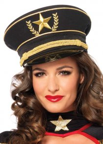 Womens Deluxe Black and Gold Military Hat