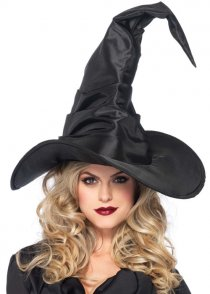 Halloween Deluxe Large Black Satin Witch Hat