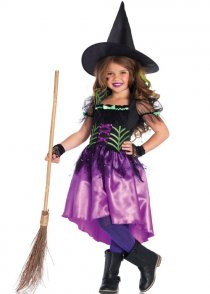 Kids Purple Spiderweb Witch Costume