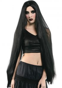 "Gothic Ladies Extra Long Black 40"" Wig"