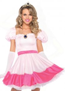Womens Short Pink Princess Peach Costume