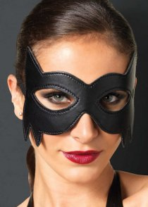 Womens Black Faux Leather Cat Eyemask