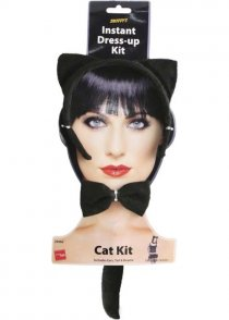Ladies Black Kitty Cat Accessory Set