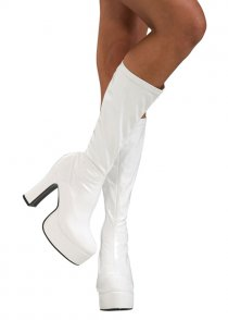 Adult Ladies 70's Abba Style White Platform Boots