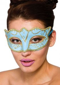 Pale Blue and Gold Masked Ball Eyemask