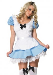 Womens Blue Alice in Wonderland Style Costume