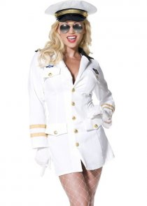 Adult Ladies White Top Gun Officer Costume