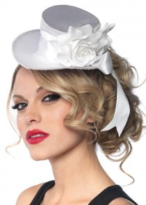 Deluxe White Satin Mini Top Hat
