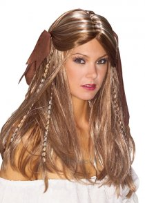Womens Brown Pirate Wench Wig